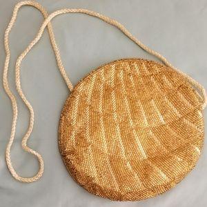 VTG Gold Beaded Round  Shoulder Bag Groovy Purse